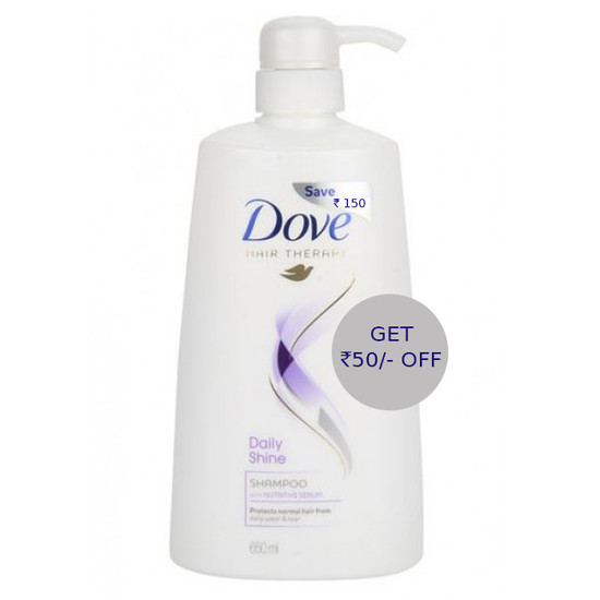 Dove Hair Therapy Daily Shine Shampoo (650 Ml) - Rs.50 OFF