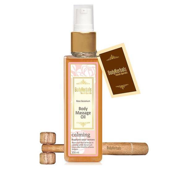 BodyHerbals Ancient Ayurveda Natural Rose Geranium Body Massage Oil (100 Ml)
