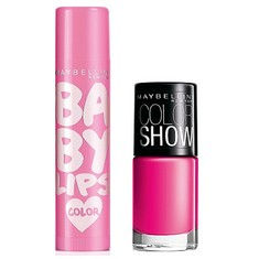 Maybelline Baby Lips Pink Lolita (4 G) + Maybelline Baby Lips Pink Lolita (4 G) + Free Maybelline Color Show Nail Enamel Fiesty Fuschia 213