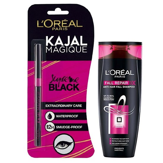 L'Oreal Paris Fall Resist 3X Anti-Hair Fall Shampoo (640 Ml) + FREE L'Oreal Paris Kajal Magique Supreme Black (0.35 G)