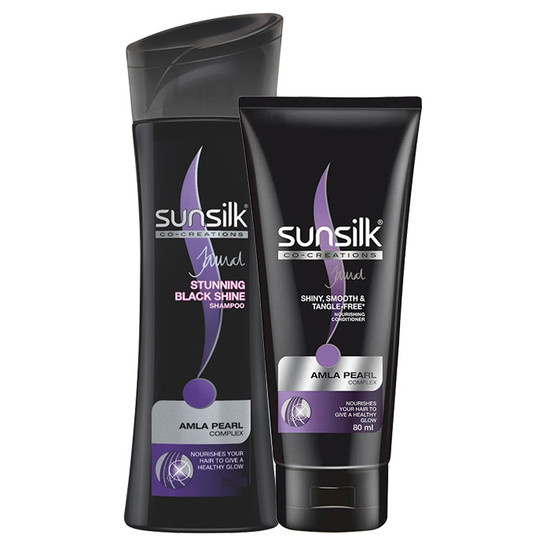 Sunsilk Stunning Black Shine Shampoo (340 Ml) + FREE Sunsilk Shiny Smooth & Tangle-Free Nourishing Conditioner (80 Ml)