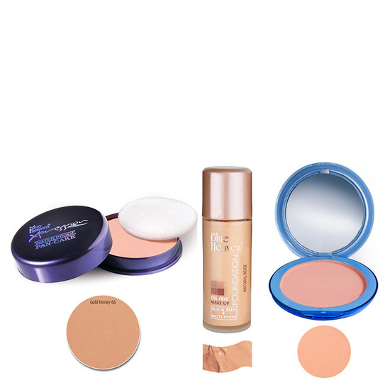 Blue Heaven Xpression Pan Cake (66), Oil Free Foundation (Natural Beige) & Silk On Face Compact (Blush) Combo (16 G +  30 Ml +  16 G)