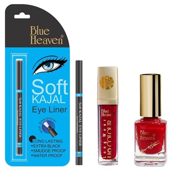 Blue Heaven Long Wear Lip Color 246, Xpression Nail Paint 913 & Blue Heaven Kajal Liner Combo (6.5 Ml + 9 Ml + 0.31 G)
